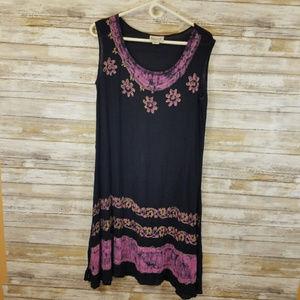 Purple & Black Boho Rayon Plus Size Summer Dress